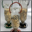 3 Hanging Feeders, Black, Green, Terra Cotta (Bottle & Seed not included)